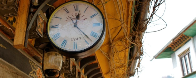 Clock at our hotel in Punakha (taken at 9:30 AM)